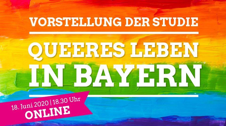 """Ein Regenbogen mit Schriftzug """"Vorstellung der Studie: Queeres Leben in Bayern"""""""